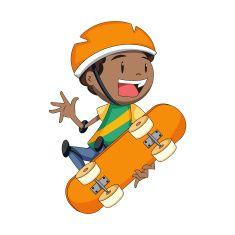 Child skateboard, vector illustration vector art illustration