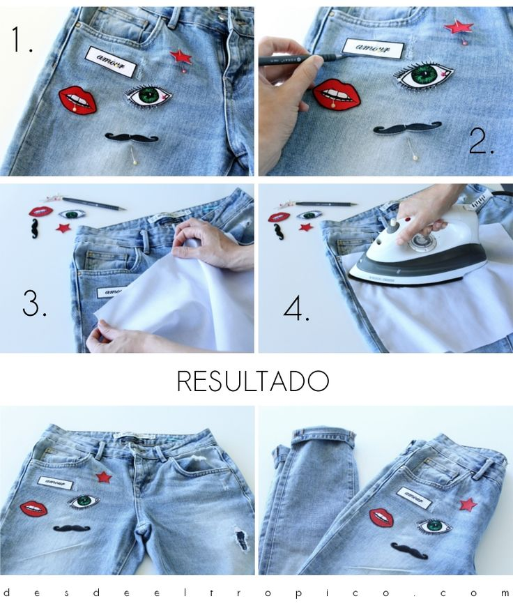DIY de unos jeans con parches #jeans #diy #patchedjeans