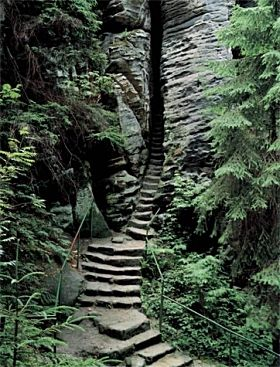 I imagine this leads to a hotspring in the middle of the mountains with an amazing view, and a cave, with a waterfall ;)