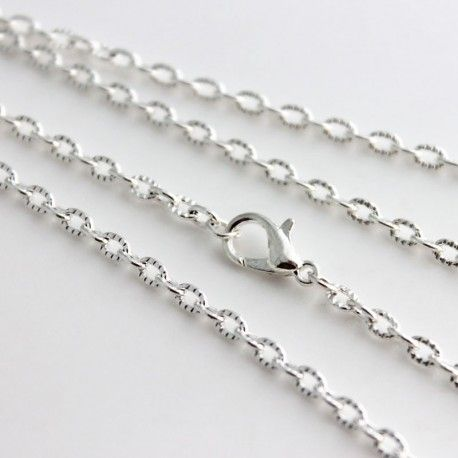 """This lovely textured, silver plated, necklace chain closes with a lobster clasp. Just add charms or a pendant for the final touch! - 50cm / 20"""""""