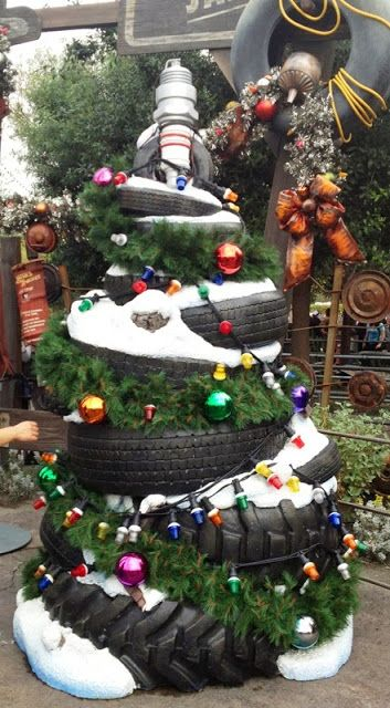 Christmas Trees of Cars Land - Tire Christmas Tree