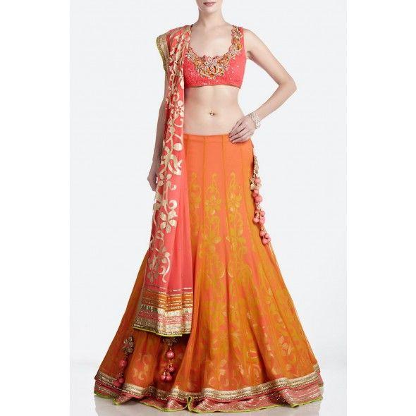 Gorgeous Orange & Pink layered Net Bridal #Lehenga by http://www.SatyaPaul.com/bridal/lehengas.html