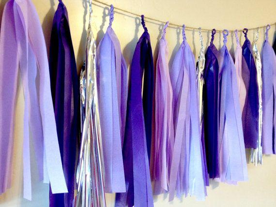 Purple Royalty Tissue Paper Tassel Garland  - Party - Wedding - Baby Shower - Nursery