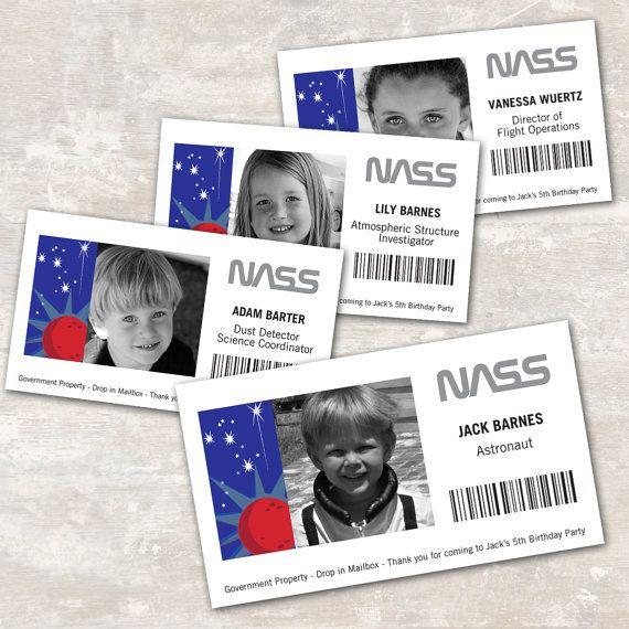 PRINT & SHIP Space Rocket Astronaut Birthday ID Badges (set of 8)