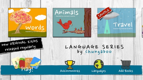iPad App:  Chungaboo Language Series by Chungaboo.  Language options in this app: Mandarin Chinese, English, French, German, Italian and Spanish.  Set the language of your choice in the setting and have fun!  Beautiful art and interactive learning.