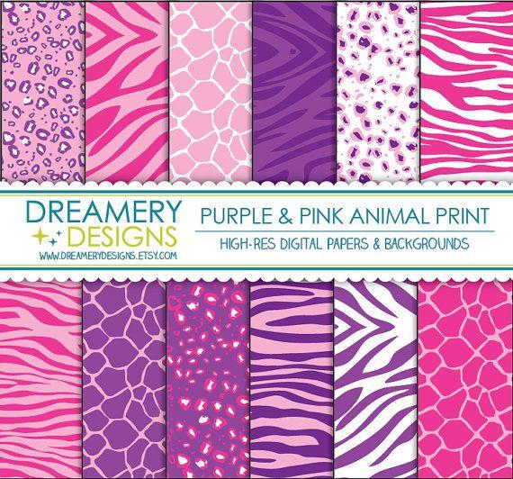 Purple & Pink Animal Print Digital Papers - INSTANT DOWNLOAD - Printable JPGs…