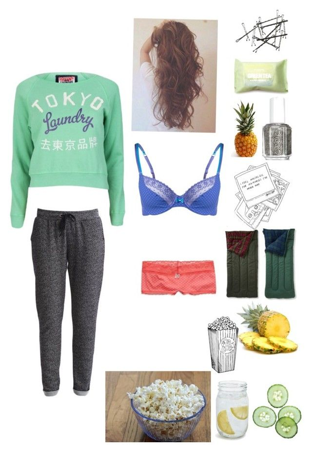 """Tumblr sleepover"" by o-zenchickens-o ❤ liked on Polyvore featuring American Eagle Outfitters, Tokyo Laundry, Essie, Forever 21, Sur La Table, Passionata, Object Collectors Item, tumblr, sleepover and nope"