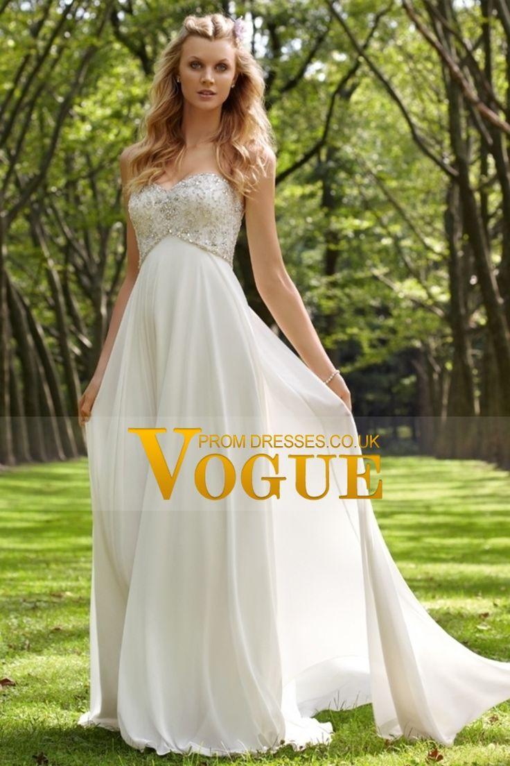 2013 Wedding Dresses Empire Waist Sweetheart Chiffon With Beading&Sequins