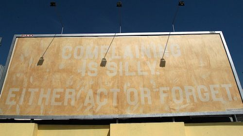 The billboard for the Experimenta in Lisbon is made out of newsprint paper. We took advantage of the fact that newsprint yellows significantly in the sun.