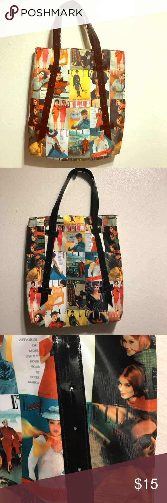 Fun Elle shoulder bag! Lots of different pictures from Elle magazine covers!! Really nice for overnight bag and a has pleather straps! Elle Bags Totes