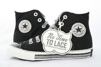 18aa662c05d7c4 WOMEN S Converse Chuck Taylor NO TIME TO LACE Black Silver Sparkly Hi Slip  On