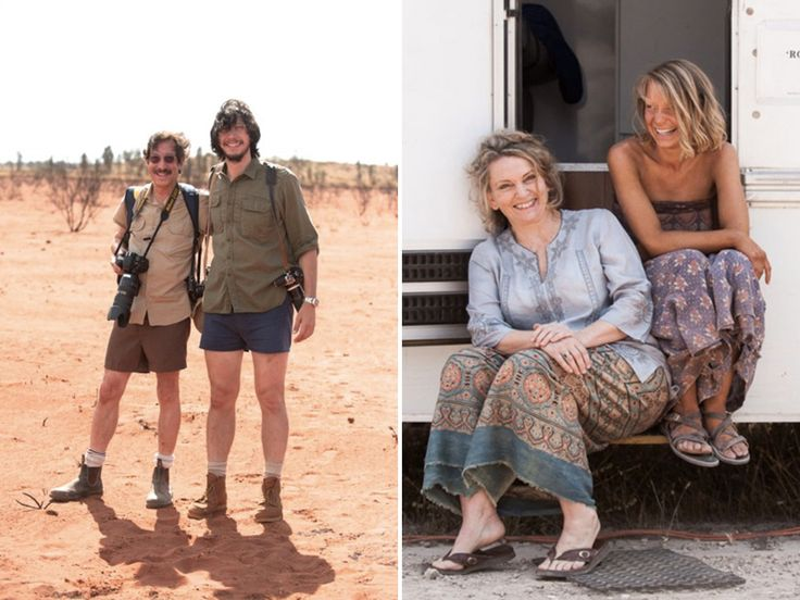 "Rick Smolan and Adam Driver are seen on the set of ""TRACKS."" (Left) Robyn Davidson and Mia Wasikowska are pictured together. (Right)"