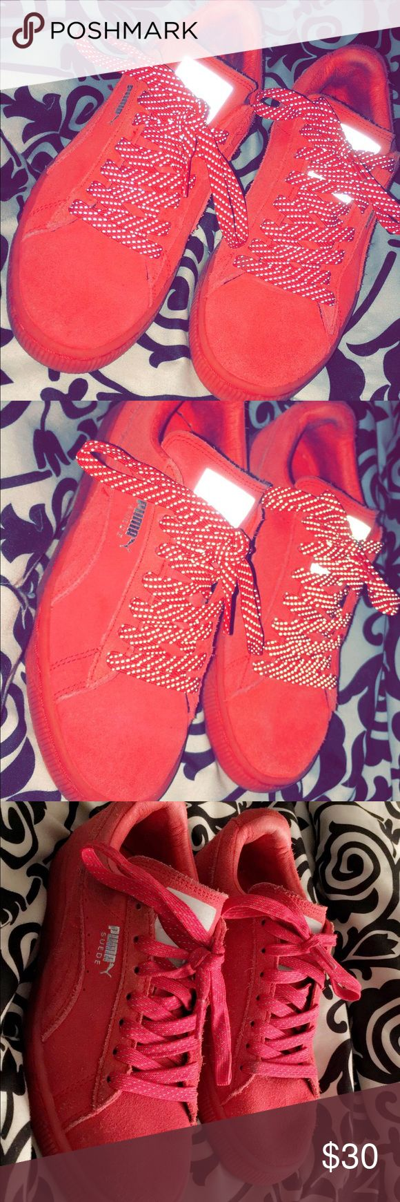 Red suede Puma classics! All red suede puma classics size 5.5, good condition! Puma Shoes Sneakers