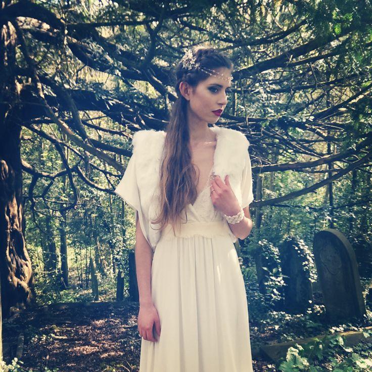Laure de Sagazan Ruiz. Bohemian Bride. Faux fur jacket by Blanche in the Brambles. Headdress Hermione Harbutt - Fiori.