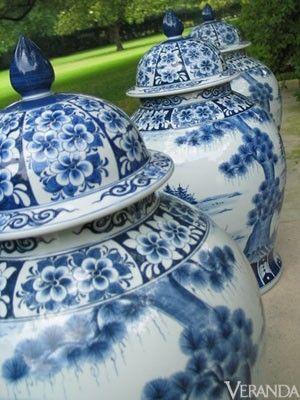 »☆Elysian-Interiors ♕Simply divine #porcelain ~ blue and white ginger porcelain jar ~ Large ginger jars - Veranda