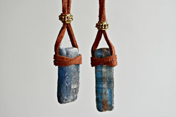 Raw Kyanite Necklace Suede Leather Crystal by IndigoLizard on Etsy