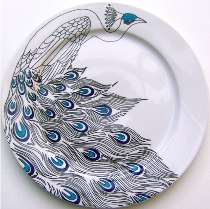 eeeek —I wish I could do this.  hand drawn peacock serving place by jim bob art.
