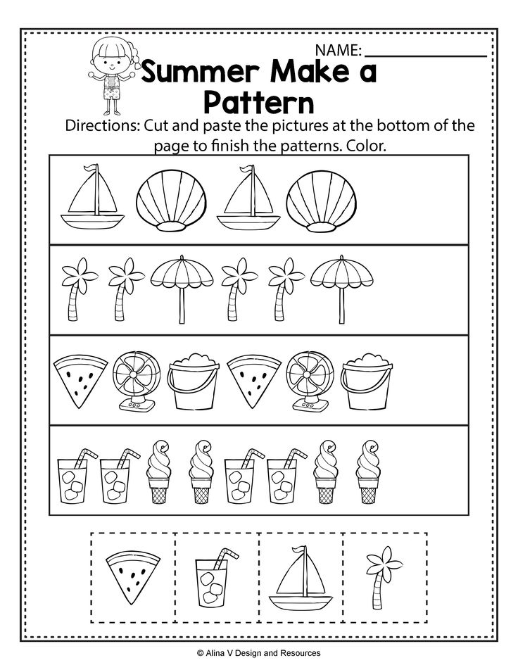 Make A Pattern Summer Math Worksheets And Activities For