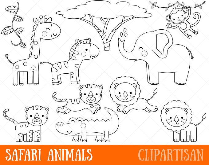 Woodland Animals Digital Stamp Line Art Eps Vector Graphics Coloring Page Safari Baby Animals Animal Clipart Animal Coloring Pages