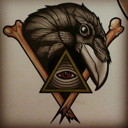 #traditional #tattoo #bird #raven #bones #eye