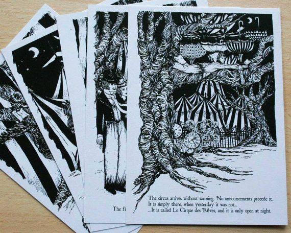 The Night Circus Postcard Pack by LostPlotsShop on Etsy, £5.00; frame and put on tables as part of centerpieces