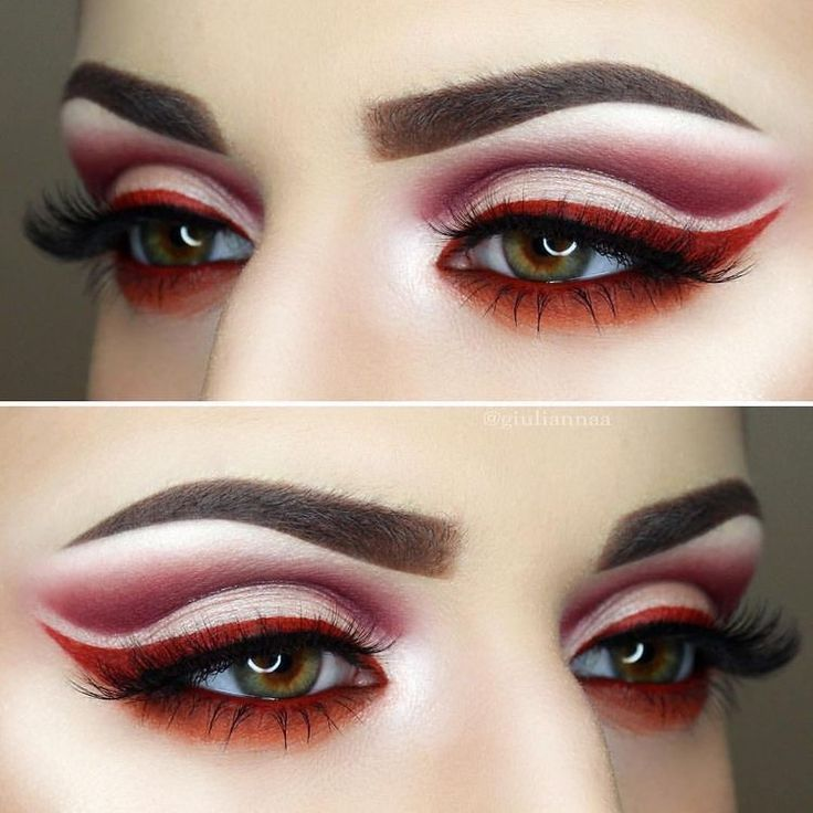 Red cut crease eye look