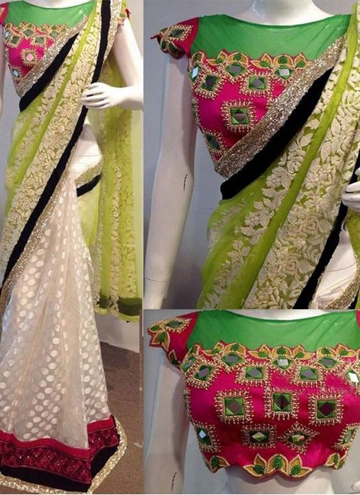 New Multi Color Georgette Fancy Thread Work Saree With Blouse
