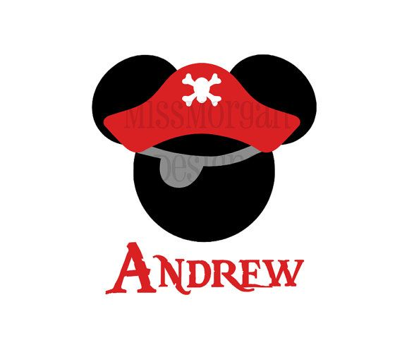 Personalized Pirate Mickey Mouse Disney iron on decal vinyl for shirt via Etsy