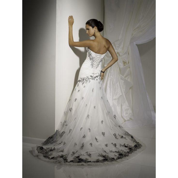 Black red and white wedding dress wedding dress sleek for Black corset wedding dresses