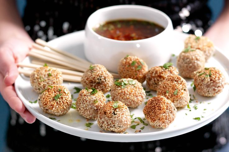 thai chicken meatballs:Spear them with a toothpick then enjoy them dipped in tangy lime & chilli sauce!