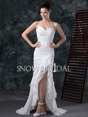 White Mermaid High Low Chiffon Halter With Straps Wedding Dress – US$ 141.99 – Style W0648 – Snowy Bridal