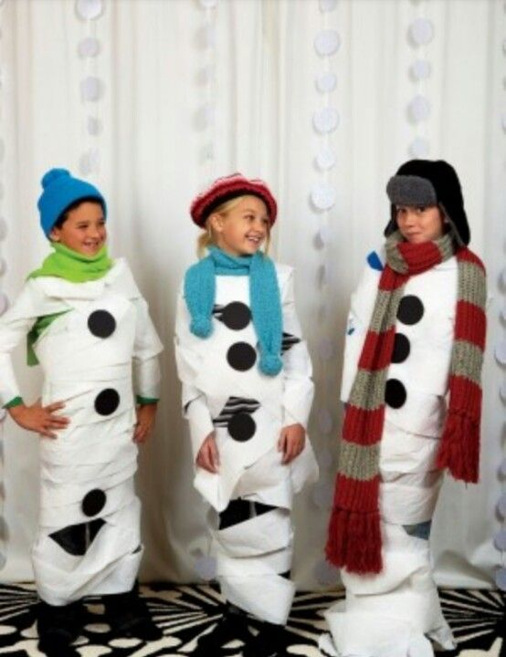 Kids Game: Make a Snowman using toilet paper... Have items ready, two or three of each; rolls of toilet paper, felt material cut into circles, a scarf, and hat/beanie. First one who becomes a snowman, Wins!!!! Fun for Adults too! Great for Christmas parties!