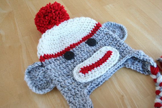 Sock monkey hat, newborn sock monkey hat, crochet monkey, red cream and gray, Newborn to 12 month sizes available on Etsy, $25.00