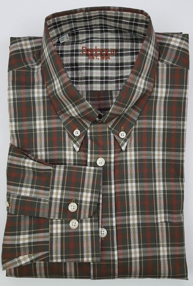 Barbour Shirt Medium Brown Plaid Tartan Brown Green Multicolor Mens Size Cotton  #Barbour #Oxford