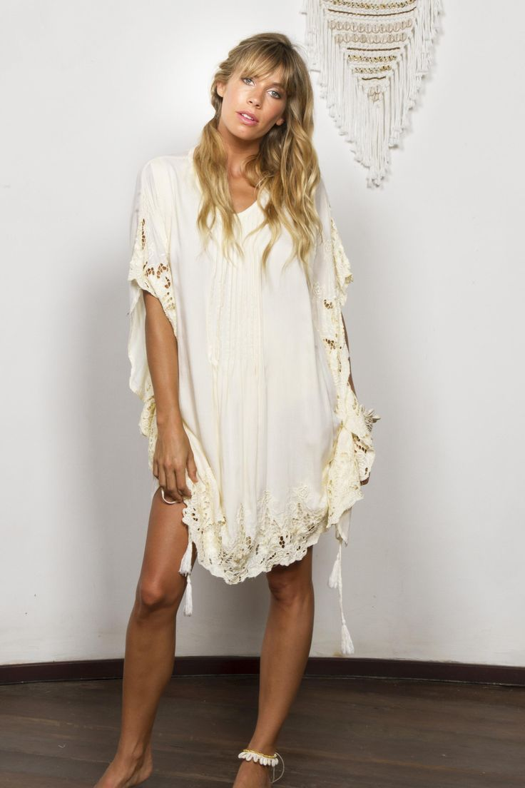 """""""Repeat After Me"""" embroidered maternity and nursing kaftan - Lemon cream voile Fillyboo - Boho inspired maternity clothes online, maternity dresses, maternity tops and maternity jeans."""