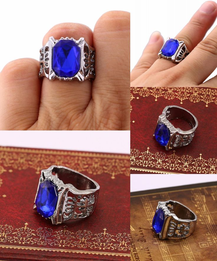 [Visit to Buy] HSIC Anime Kuroshitsuji Black Butler Silver Ring Anime Cospaly Blue Stone Ring US Size 8 for Wedding Party HC11686 #Advertisement