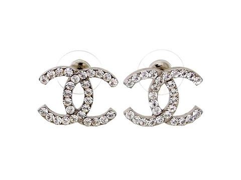 Vintage Chanel stud earrings CC logo rhinestone
