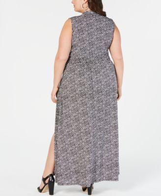 Michael Michael Kors Plus Size Printed Faux-Wrap Maxi Dress – Black 3X