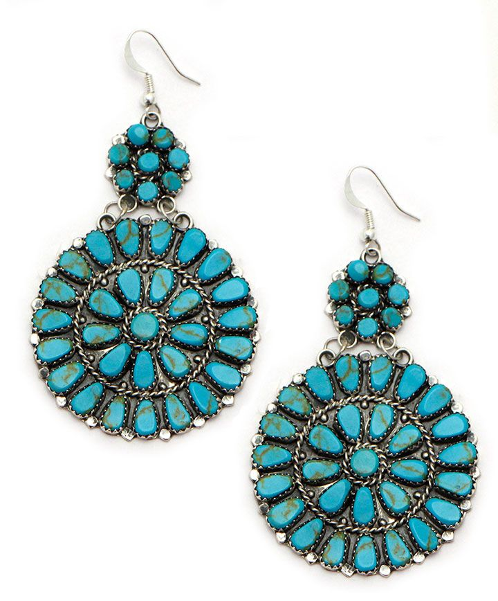 Turquoise and Sterling Burst Earrings at Maverick Western Wear