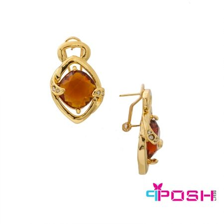 - Gold tone chain with unique geometric links - Amber stones accented with clear stones - French closure - Dimensions 2.5 cm length x 2 cm width  POSH by FERI - Passion for Fashion - Luxury fashion jewelry for the designer in you.