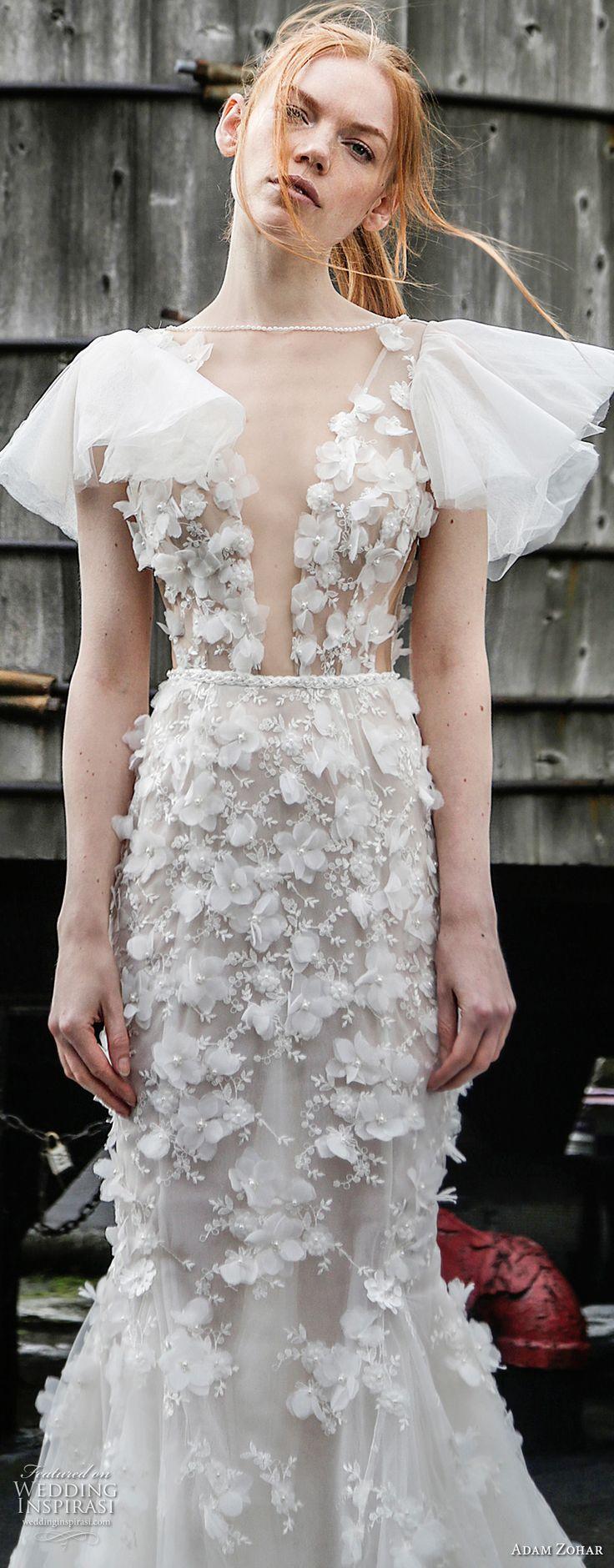 adam zohar 2017 bridal butterfly sleeves illusion bateau deep plunging v neck full embellishment sexy romantic mermaid wedding dress open back chapel train (13) zv