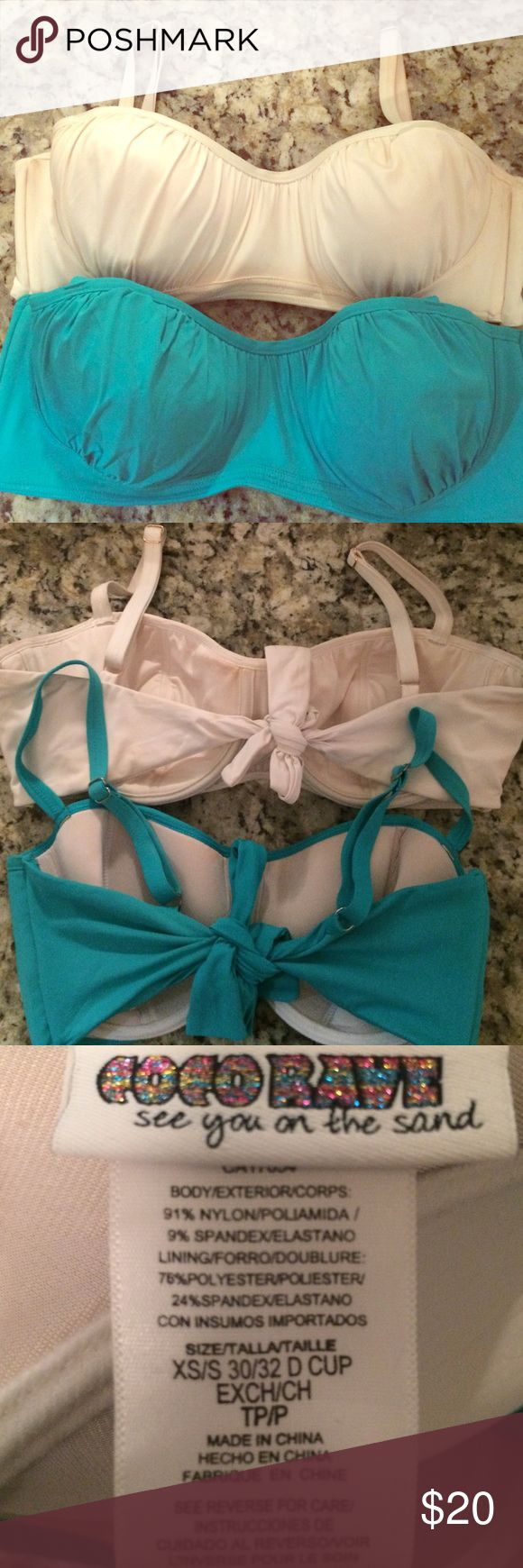 Bundle of 2: Coco Rave underwire Demi cup bikini Cream and teal green color both size XS/S 30/32 D fits tts. EUC BOTH! Smoke-free home. Coco Rave Swim Bikinis