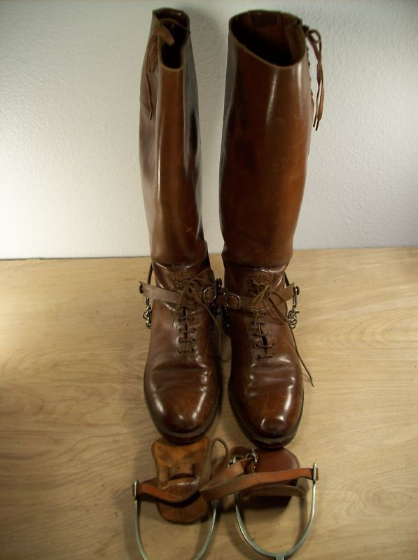 Vintage Us Army Leather Cavalry Men S Riding Boots Size 8