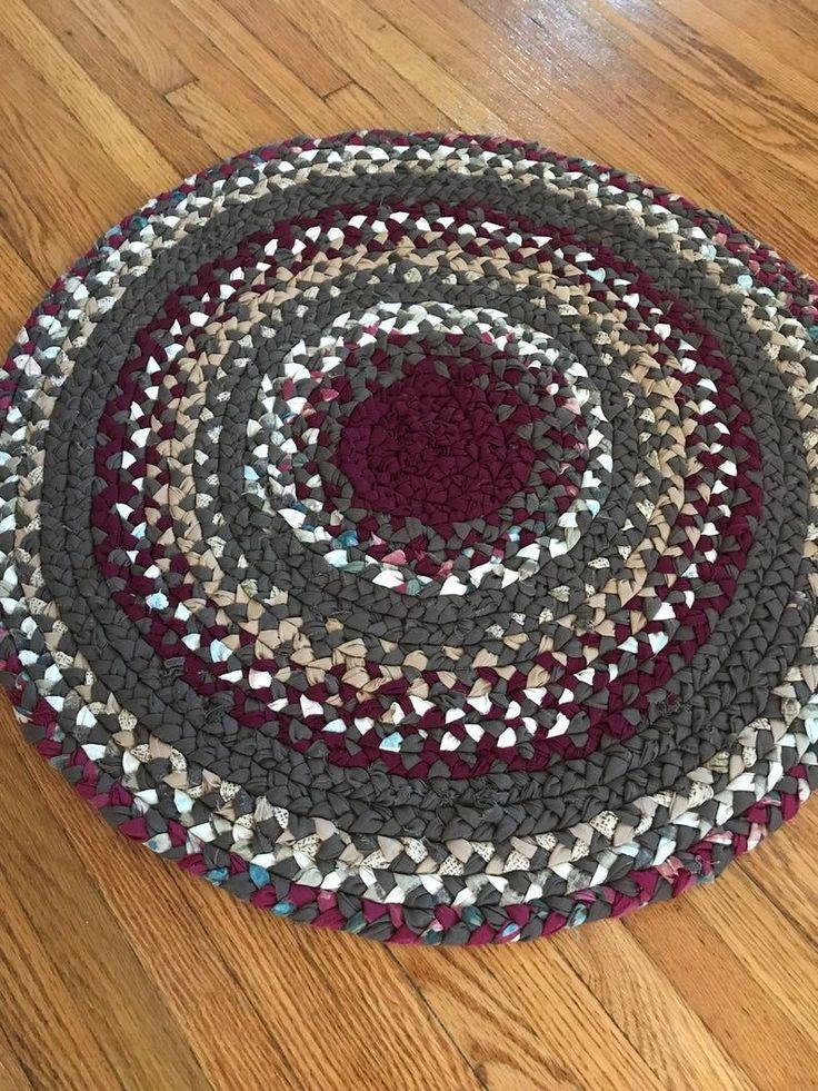 Handmade rag rug round rug farmhouse rug cabin rug braided