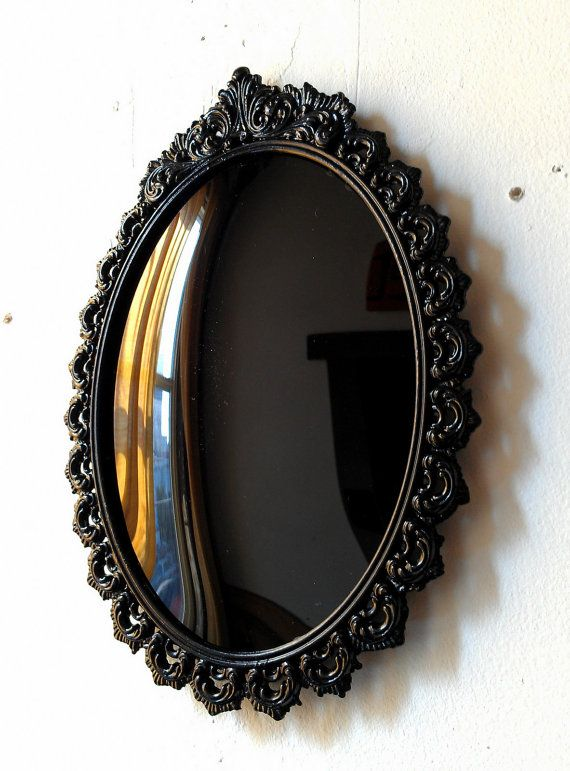 Black convex scrying mirror in vintage oval frame 9 by 6 for The miroir noir