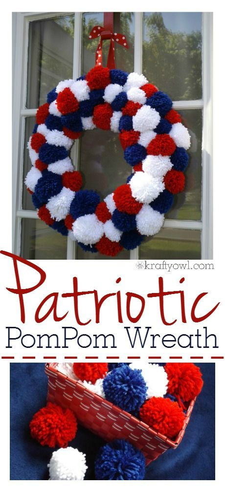 patriotic pom-pom wreath I made for the 4th of July and it's so easy you'll want to get the kids involved. Everything about this wreath is simple including