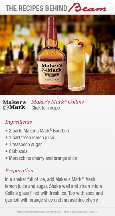 Sip a cold Maker's Mark Collins, a Recipe #BehindBeam. It combines one of your favorite bourbons with a hint of citrus.