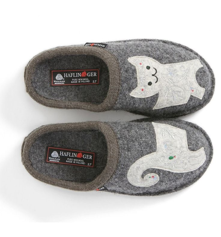 Whimsical feline appliqués style a cozy slipper crafted from soft, natural wool.