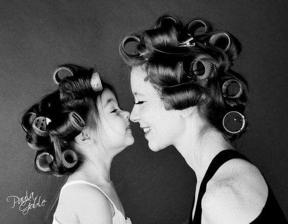 Mommy daughter hair curlers
