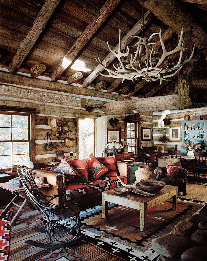 chez ralph lauren dans le colorado rustic cabinslog cabinsmountain cabinsmountain cabin decorsmall - Cabin Interior Design Ideas